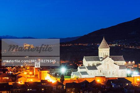 Svetitskhoveli Cathedral, 11th century, by Patriach Melkisedek and Bebris Tsikhe castle, Mtskheta, historical capital, UNESCO World Heritage Site, Georgia, Caucasus, Central Asia, Asia