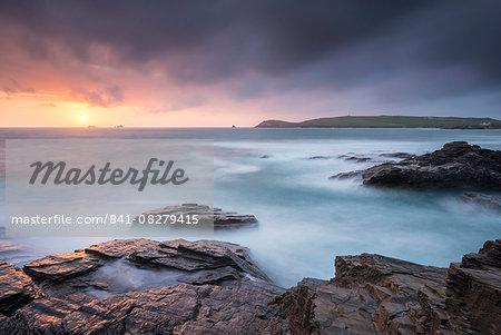 Sunset over the Cornish coast near Trevose Head, Cornwall, England, United Kingdom, Europe