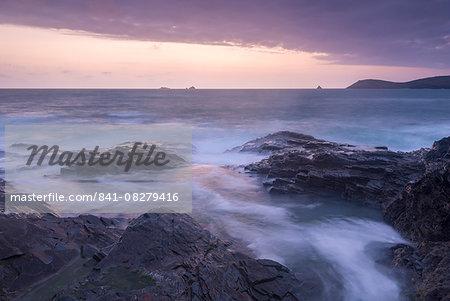 Twilight over the Cornish Coast near Trevose Head, Cornwall, England, United Kingdom, Europe