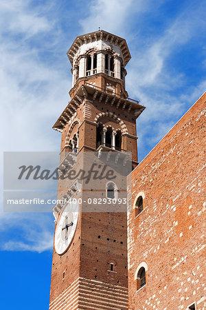 Medieval tower of Lamberti (Torre dei Lamberti) (XI century - 84 m.) in Verona (UNESCO world heritage site) - Veneto, Italy