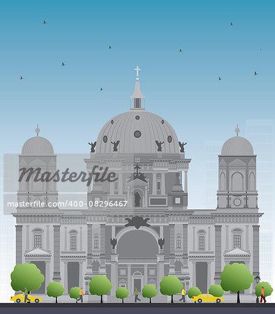 Berlin Cathedral in Berlin, Germany. Vector Illustration