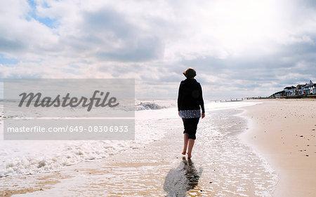 Mature woman, walking along beach, rear view