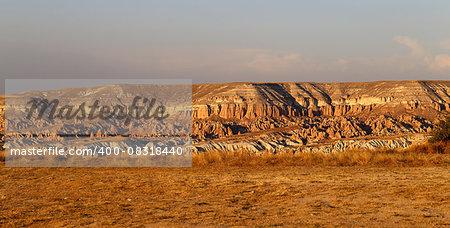 Beautiful cone rock in Cappadocia Turkey is photographed close-up