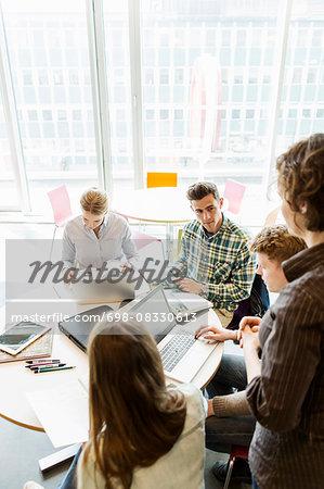 Professor training students in university classroom