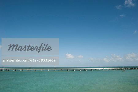 The Seven Mile Bridge crosses the ocean in the Florida Keys, Florida, USA