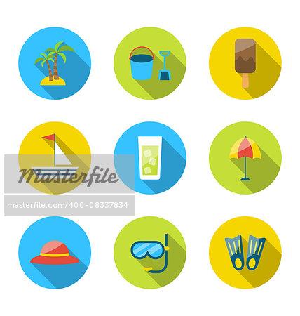 Illustration flat modern set icons of traveling, planning summer vacation - vector