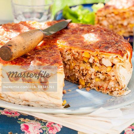 Mexican Chicken, Zucchini and Corn Tortilla Pie, square