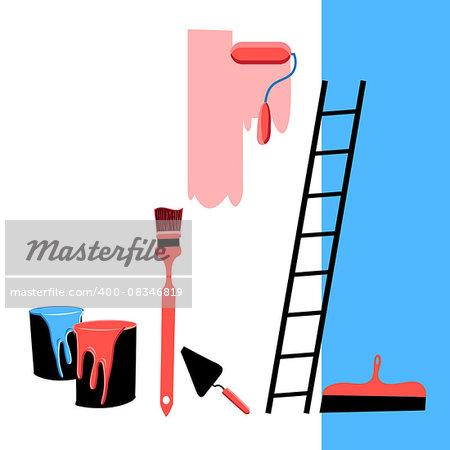 Beautiful vector illustration building tools for the repair of premises