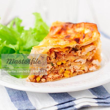 Tortilla (Lavash), Chicken, Zucchini and Sweet Corn Layered Cake, square
