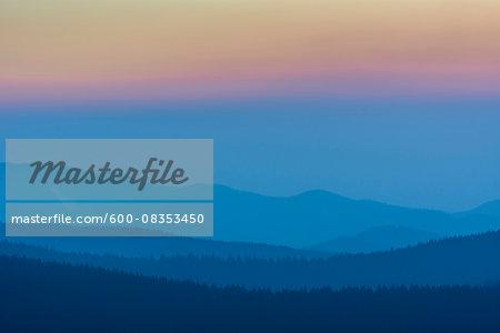 Low Mountain Landscape with Horizon Lines at Dusk, Altenau, Harz, Lower Saxony, Germany