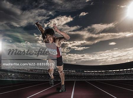 Japanese male athlete running