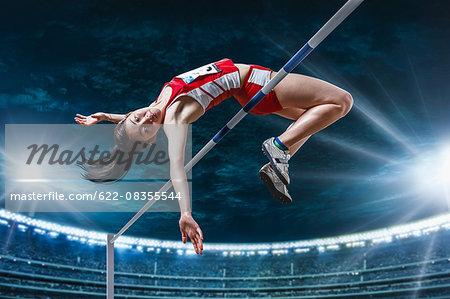 Japanese female high jump athlete jumping