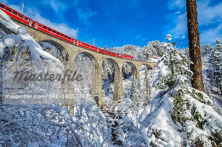 Bernina Express passes through the snowy woods around Filisur, Canton of Grisons (Graubunden), Switzerland, Europe