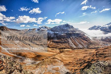 Blue sky and autumn colors, Fain Valley, Engadine, Canton of Grisons (Graubunden), Switzerland, Europe