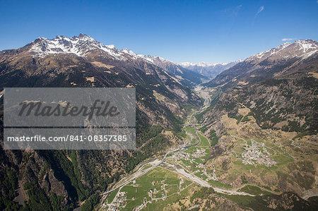 Aerial view of Sondalo and Redasco Peaks, Valtellina, Lombardy, Italy, Europe