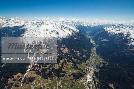 Aerial view of Bormio Ski Area, Valfurva, Valtellina, Lombardy, Italy, Europe