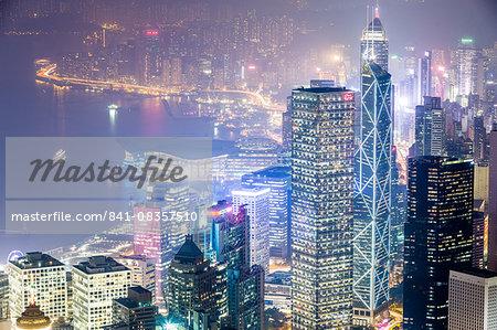 Hong Kong from the Peak at night, Hong Kong, China, Asia