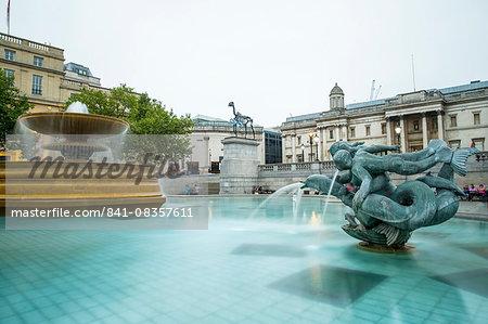 Fountains, Trafalgar Square, London, England, United Kingdom, Europe