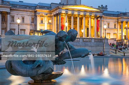 National Gallery and fountain on Trafalgar Square, London, England, United Kingdom, Europe