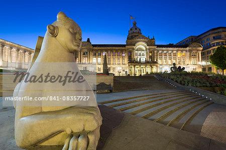 Council House (Birmingham City Council) at night, Victoria Square, Birmingham, West Midlands, England, United Kingdom, Europe