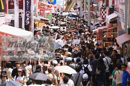 Above view of people walking in Harajuku, Tokyo, Japan