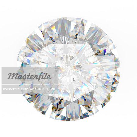Diamond against a white background, computer illustration.