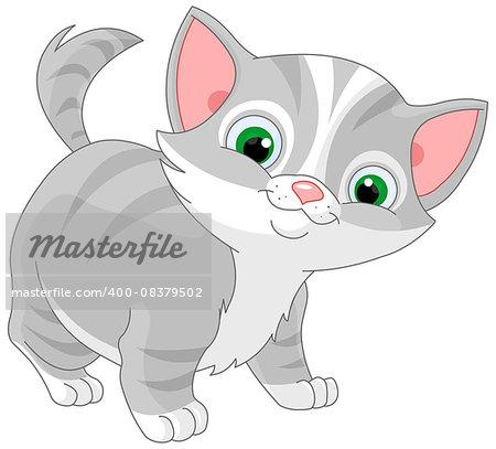 Illustration of striped kitten