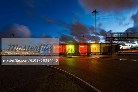 Colorful illuminated buildings at dusk
