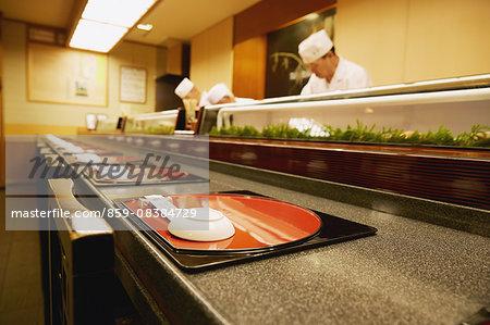 Japanese sushi chef working