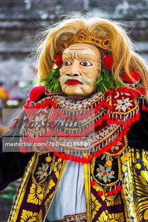 Topeng mask dancer at a Balinese ceremony in Junjungan, near Ubud, Bali, Indonesia