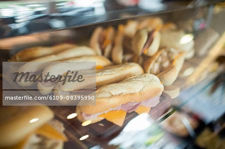 Display case of fresh sandwiches