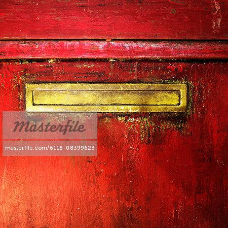 Mail slot in a door