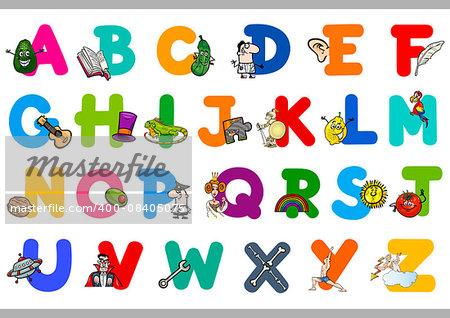 Cartoon Illustration of Capital Letters Alphabet Educational Set for Preschool Children