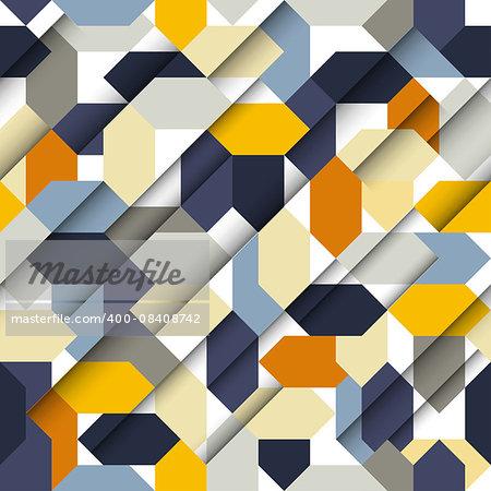 Vector seamless papercut geometric pattern with polygonal elements, sharp retro colors