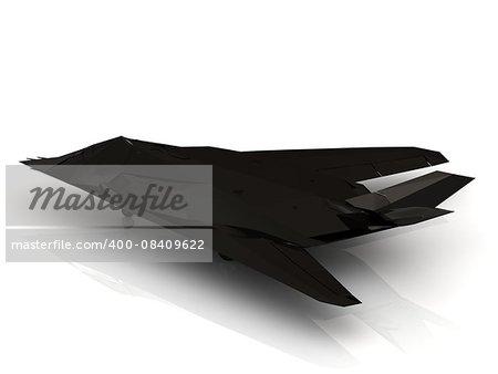 Military black airplane on white background