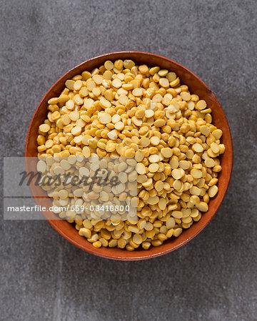 Chana Dal (split chickpeas) in a terracotta dish