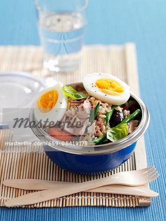 Salad nicoise with rice and tuna