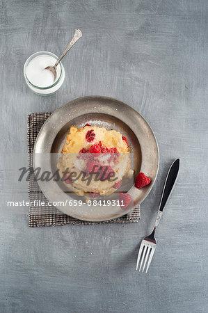 Raspberry pancakes with sugar