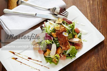 Marinated rabbit and chanterelle mushroom salad