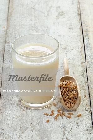 A glass of spelt milk