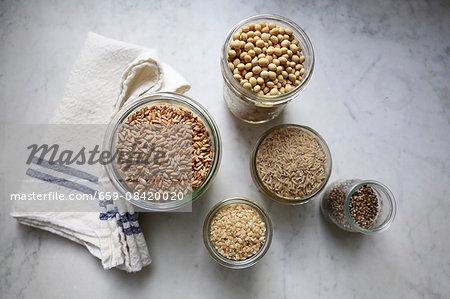 Basic ingredients for making vegan milk substitutes