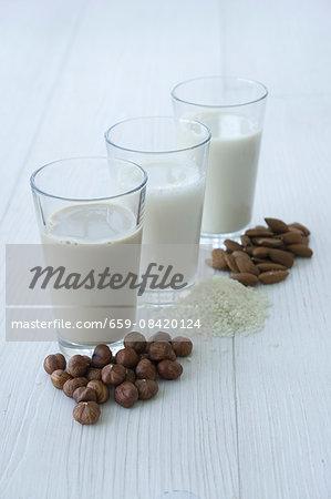 Hazelnuts and hazelnut milk, rice and rice milk, almonds and almond milk