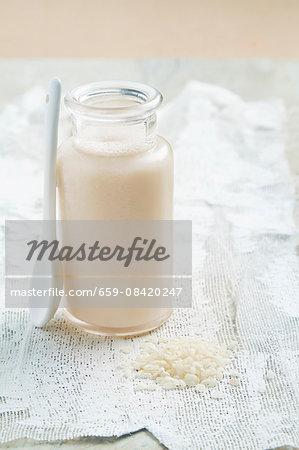 Rice milk in a glass bottle