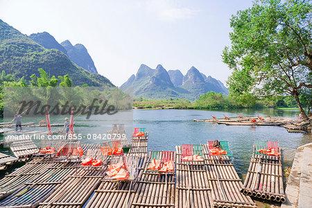 Rafts on Yulong river (Yulonghe), Gaotian village, Yangshuo, Guilin, Guanxi, PRC