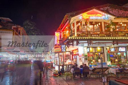 West street (Xijie) at night, Town of Yangshuo, Guilin, Guanxi, PRC