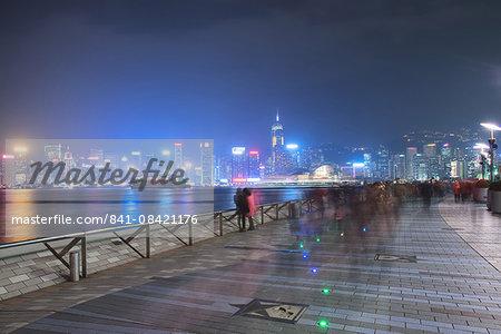 Avenue of Stars at night, Hong Kong, China, Asia