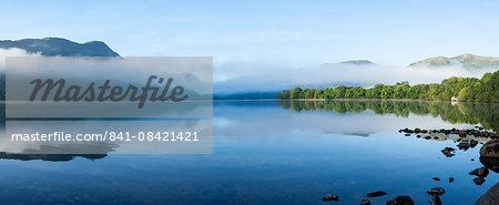 Morning mist, Lake Ullswater, Lake District National Park, Cumbria, England, United Kingdom, Europe
