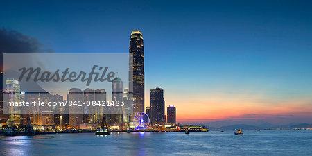 Hong Kong Island skyline at dusk, Hong Kong, China, Asia