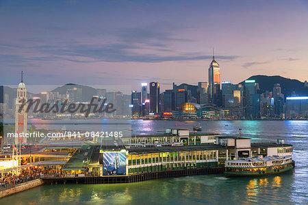 View of Star Ferry Terminal and Hong Kong Island skyline, Hong Kong, China, Asia