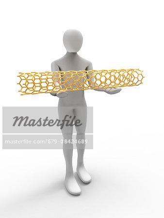 Computer artwork of a 3D human holding a carbon nanotube